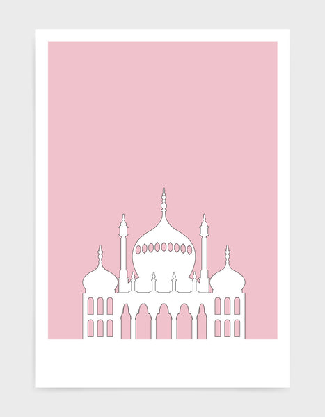 art print featuring Brighton Royal Pavilion in white against a pink background