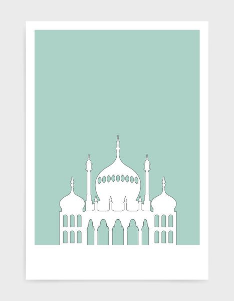 art print featuring Brighton Royal Pavilion in white against a light green background