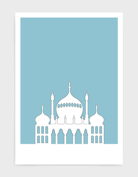 art print featuring Brighton Royal Pavilion in white against a light blue background