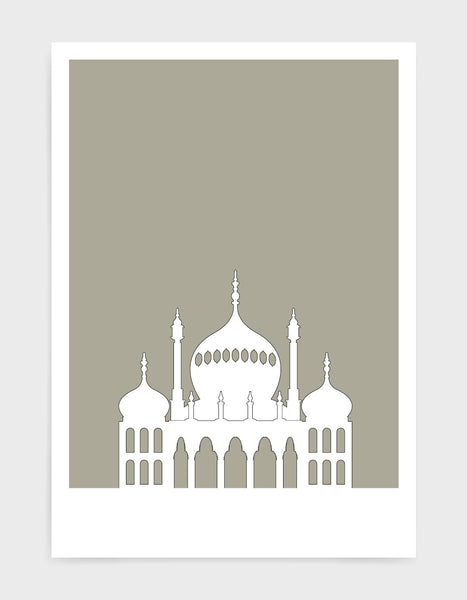 art print featuring Brighton Royal Pavilion in white against a warm grey background
