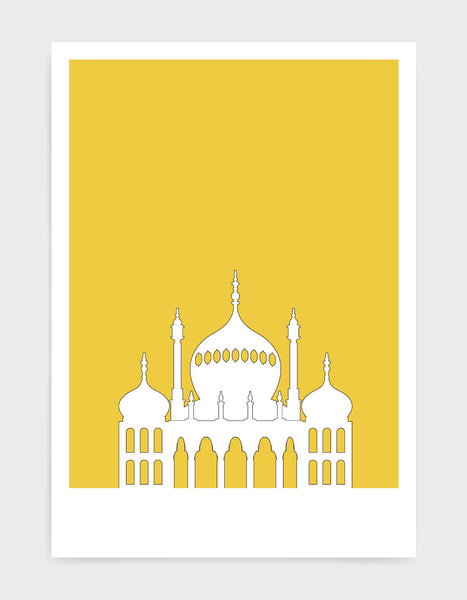 art print featuring Brighton Royal Pavilion in white against a bright yellow background