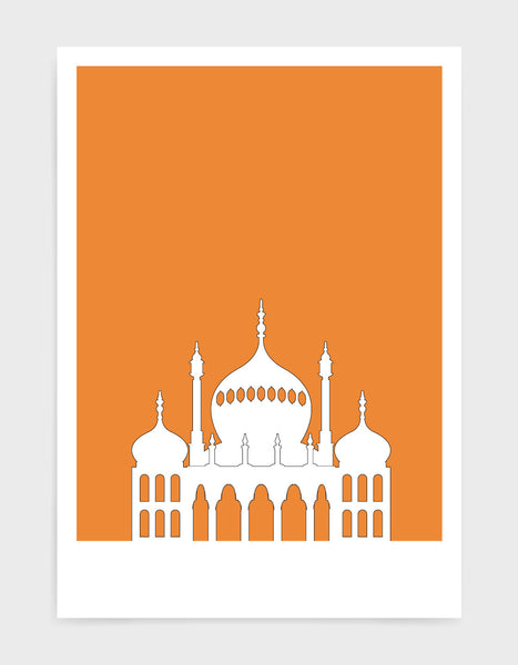 art print featuring Brighton Royal Pavilion in white against a bright orange background