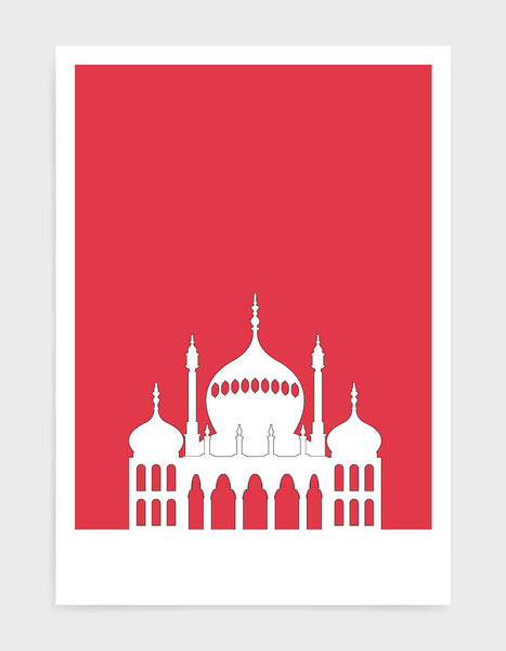 art print featuring Brighton Royal Pavilion in white against a deep red background