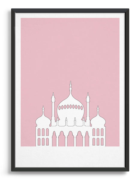 framed art print featuring Brighton Royal Pavilion in white against a pink background