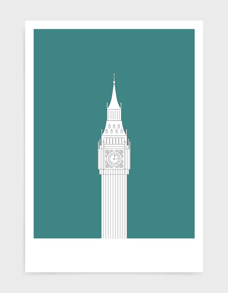 illustration of big ben in white against an aqua green background