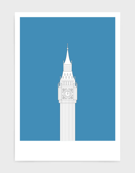 illustration of big ben in white against a mid blue background