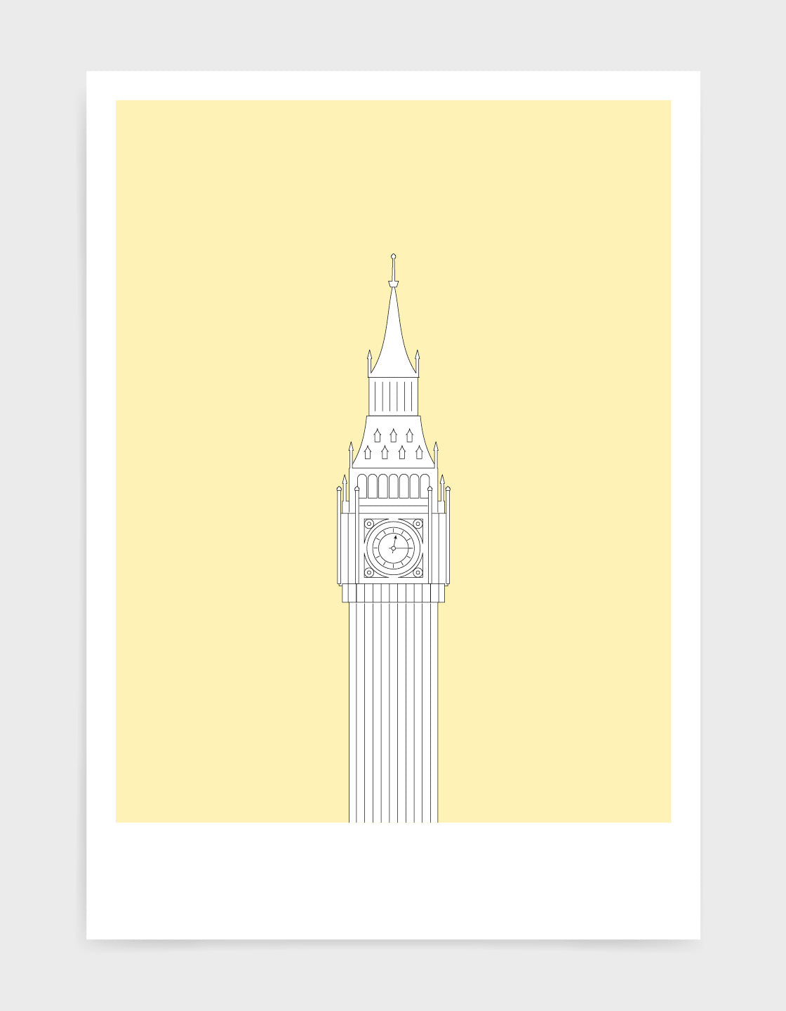 illustration of Big Ben in white against a light yellow background