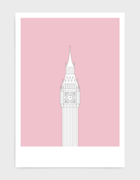 illustration of Big Ben in white against a dusty pink background