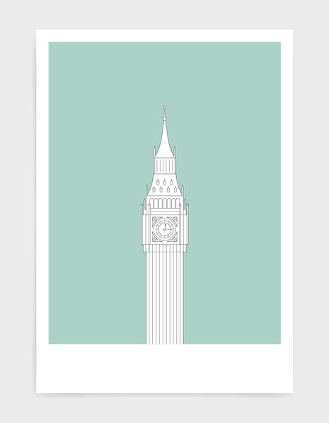illustration of big ben in white against a light green background