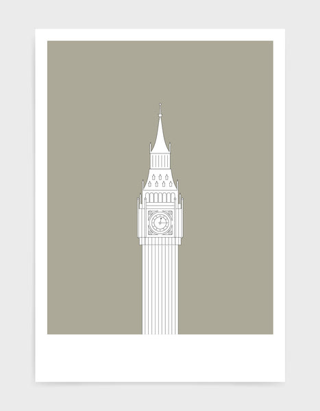 illustration of big ben in white against a warm grey background