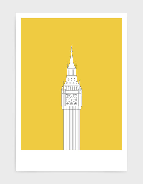 illustration of big ben in white against a bright yellow background