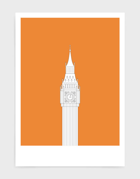 illustration of big ben in white against a bright orange background
