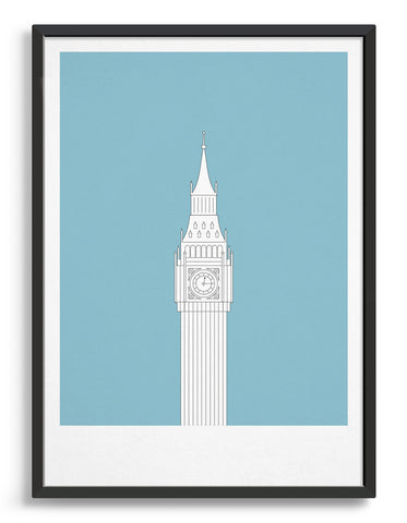 framed illustration of Big Ben in white against a light blue background