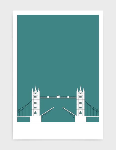 illustration of tower bridge in white against a aqua green background