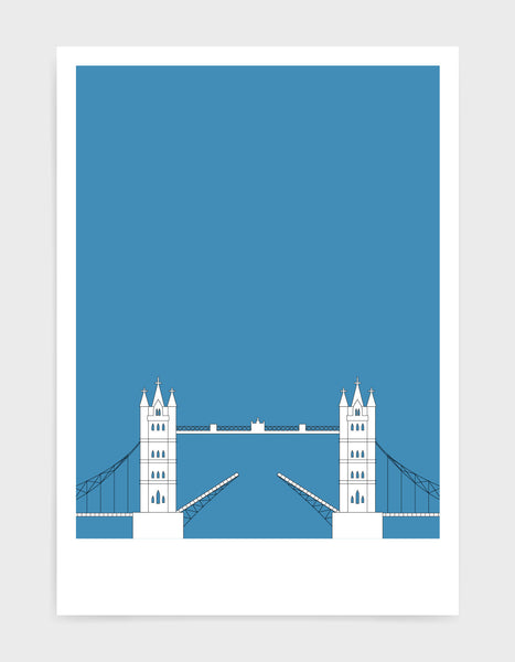illustration of tower bridge in white against a mid blue background