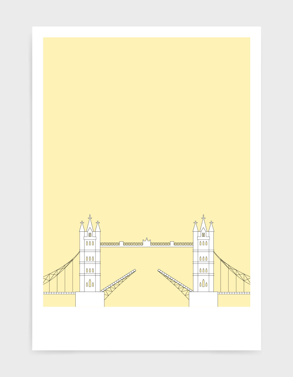 illustration of tower bridge in white against a light yellow background
