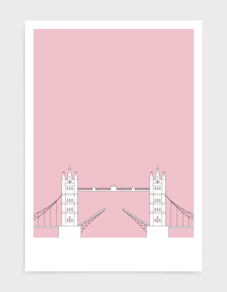 illustration of tower bridge in white against a dusty pink background