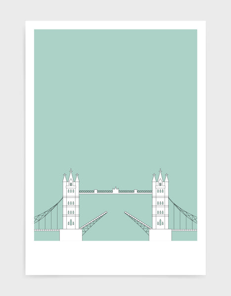 illustration of tower bridge in white against a light green backgrond