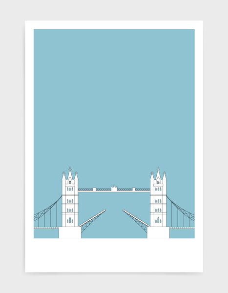 illustration of tower bridge in white against a light blue background