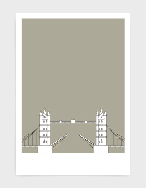 illustration of tower bridge in white against a warm grey background
