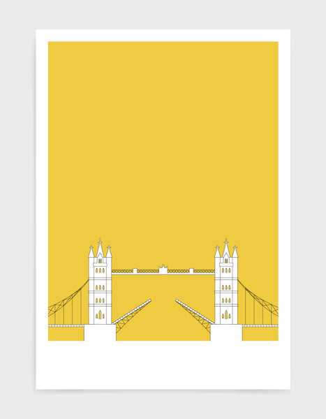 illustration of tower bridge in white against  a bright yellow background