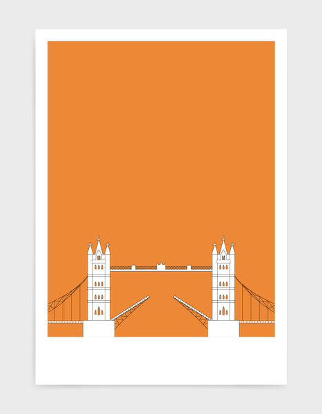 illustration of tower bridge in white against a bright orange background