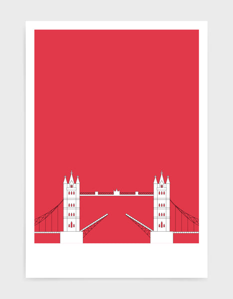 illustration of tower bridge in white against a deep red background