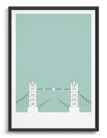 framed illustration of tower bridge in white against a light green background