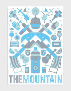 'The Mountain' art print of ski icons in blue including ski's, goggles, deckchairs