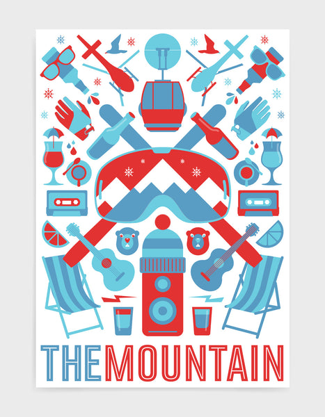 'The Mountain' art print of ski icons in blue and red including ski's, goggles, deckchairs