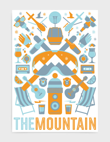 'The Mountain' art print of ski icons in orange including ski's, goggles, deckchairs