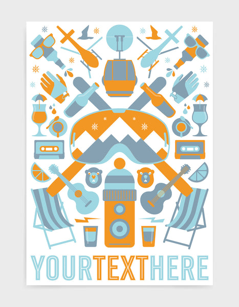 Personalised 'The Mountain' print with orange ski icons including ski's and goggles