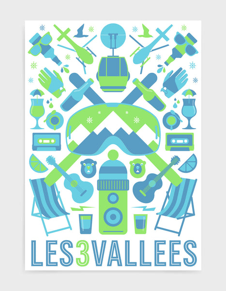 'The Mountain' art print of ski icons in green including ski's, goggles, deckchairs