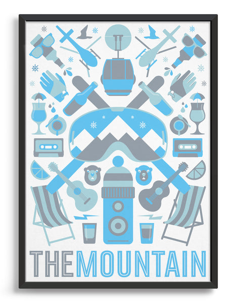 Framed 'The Mountain' art print of ski icons in blue including ski's, goggles, deckchairs