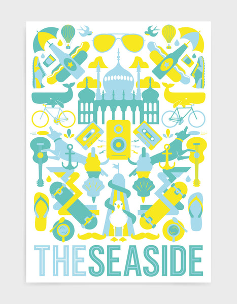 'The Seaside' souvenir art print of Brighton iconography including the Royal Pavilion