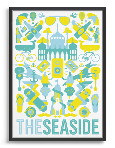 framed 'The Seaside' souvenir art print of Brighton iconography including the Royal Pavilion