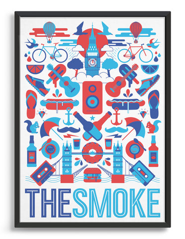 framed 'The Smoke' souvenir art print of London iconography including Big Ben and Tower Bridge