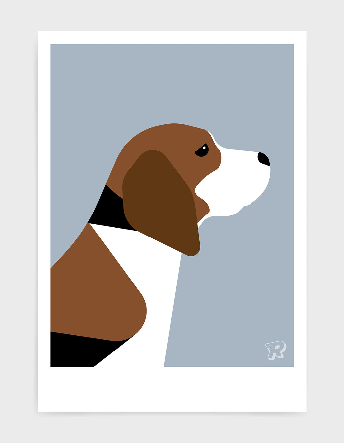 modern dog art print of a beagle in profile against as light grey background