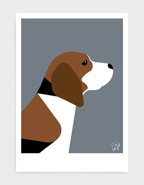 modern dog art print of a beagle in profile against a dark grey background