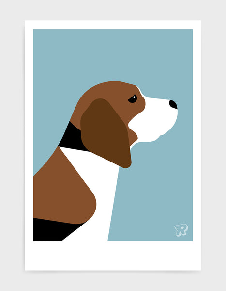 modern dog art print of a beagle in profile against a light blue background
