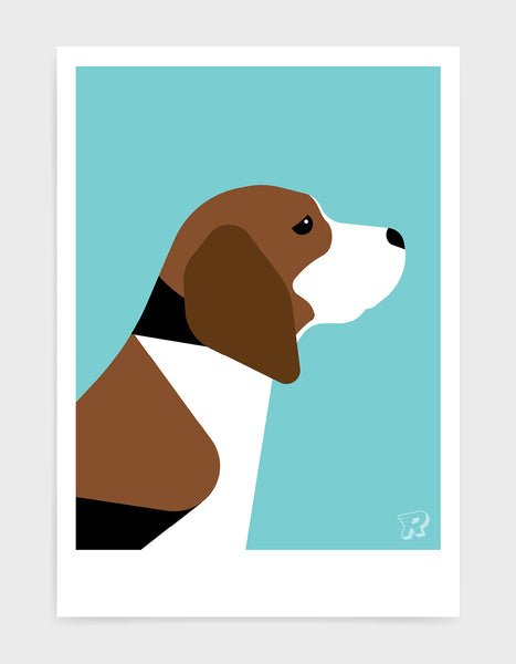 modern dog art print of a beagle in profile against an aqua blue background