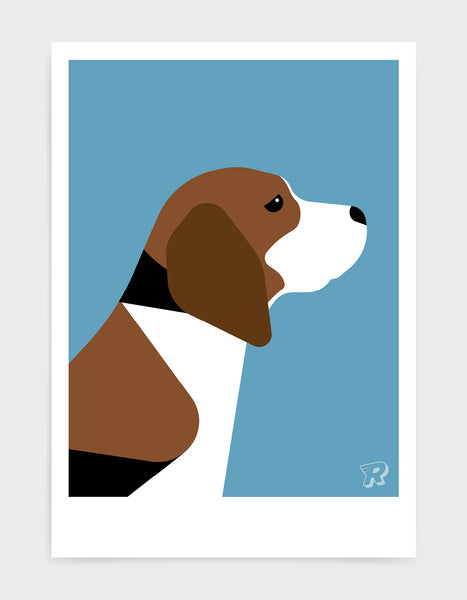 modern dog art print of a beagle in profile against a sky blue background