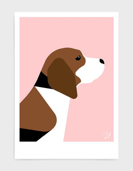 modern dog art print of a beagle in profile against a pink background