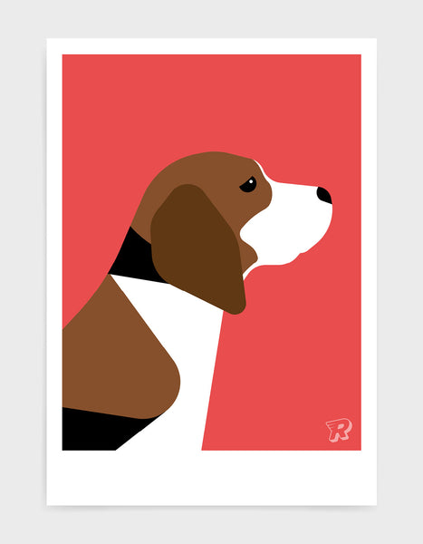 modern dog art print of a beagle in profile against a red background