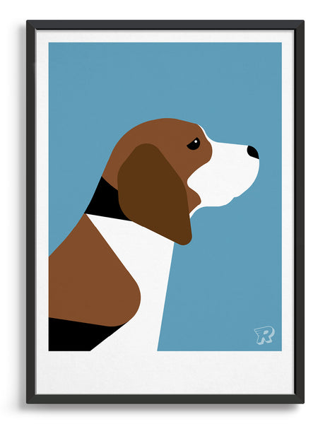 Framed modern dog print of a beagle in profile against an aqua blue background