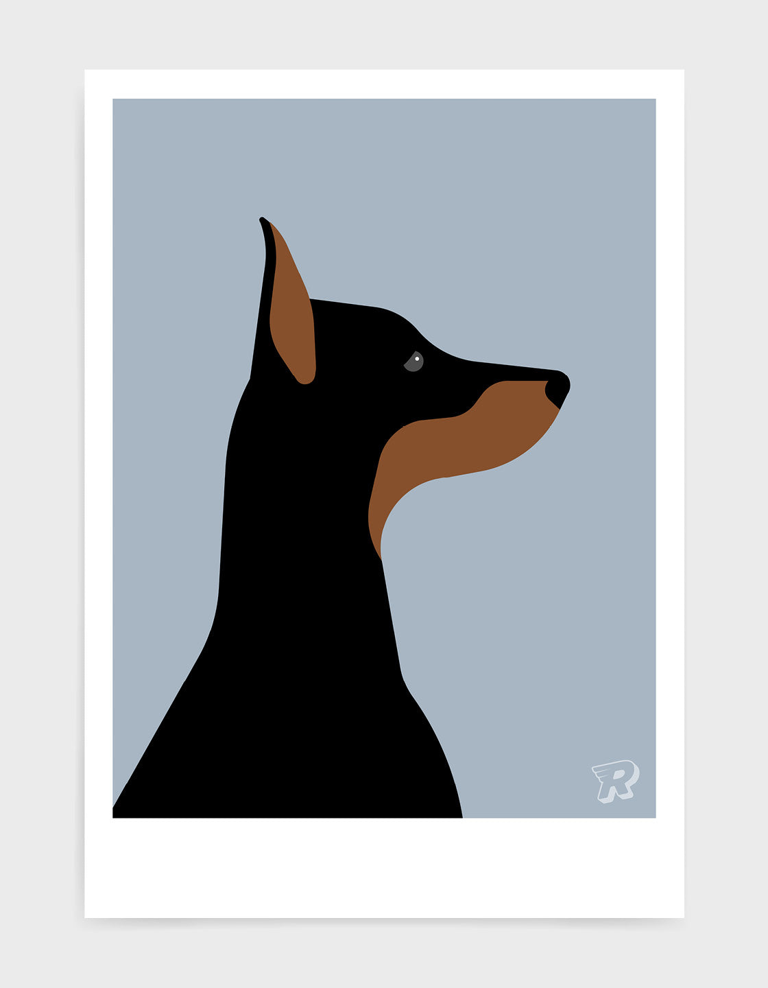 art print of a doberman dog in profile against a light grey background