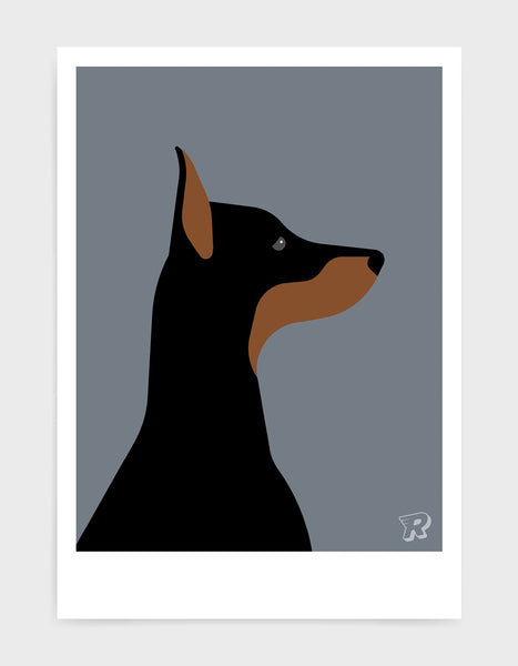art print of a doberman dog in profile against a dark grey background