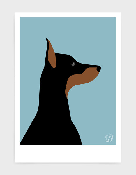 art print of a doberman dog in profile against a light blue background