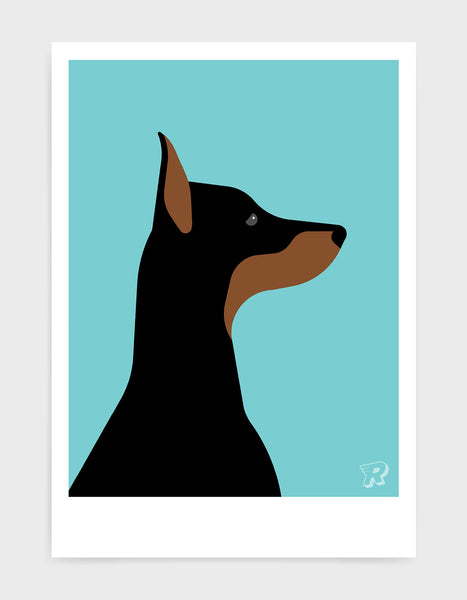 art print of a doberman dog in profile against a aqua blue background