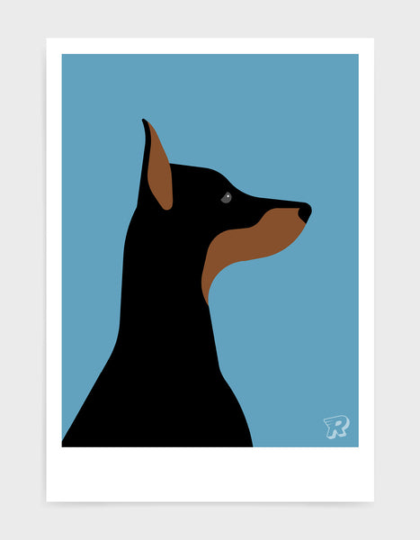 art print of a doberman dog in profile against a sky blue background